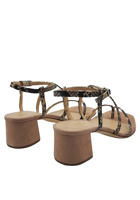 Women's Shoes Thong Sandals in Taupe Python Print Leather with Ankle Strap Unisa | Sandals | KEKE023