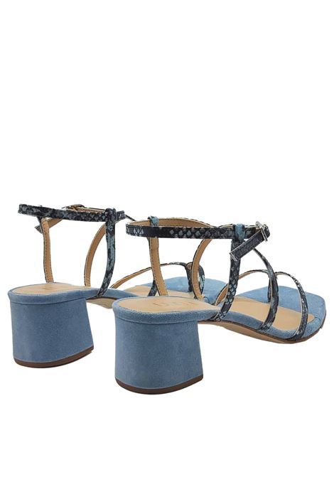 Women's Shoes Thong Sandals in Denim Python Print Leather with Ankle Strap Unisa | Sandals | KEKE026