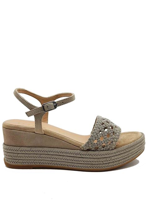 Women's Shoes Sandals in Taupe Fabric and Suede With Rope Wedge and Ankle Strap Unisa | Wedge Sandals | KISOME023