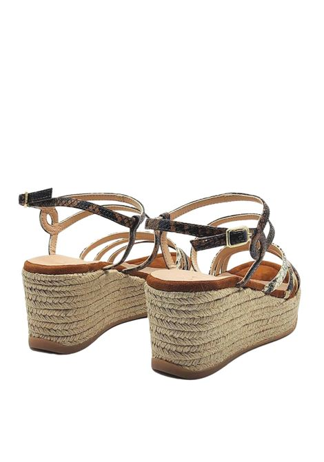 Women's Shoes Sandals in Multi Color Python Leather With Rope Wedge and Straps Unisa | Sandals | KYMO014