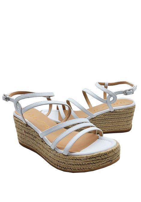 Calzature Donna Sandali in Pelle Bianca Colore Con Zeppa in Corda e Cinturini Unisa | Sandali Zeppa | KYMO100