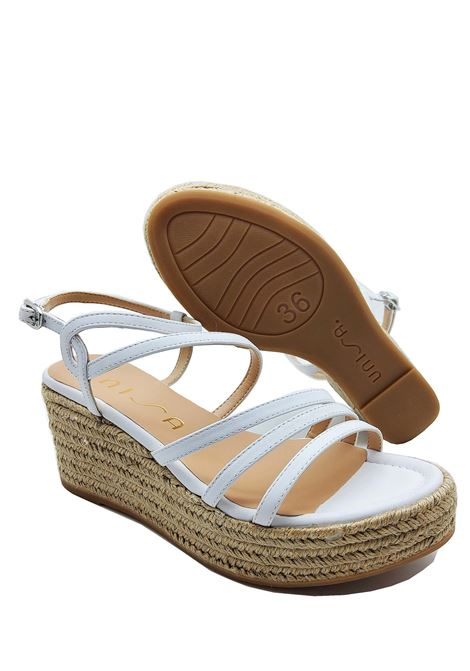 Women's Shoes Sandals in White Leather Color With Rope Wedge and Straps Unisa | Wedge Sandals | KYMO100