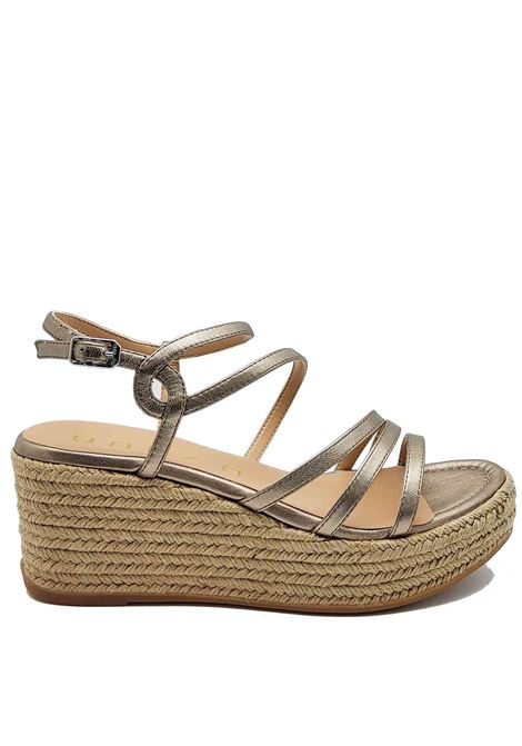 Women's Shoes Bronze Laminated Leather Sandals With Rope Wedge and Straps Unisa | Wedge Sandals | KYMO601