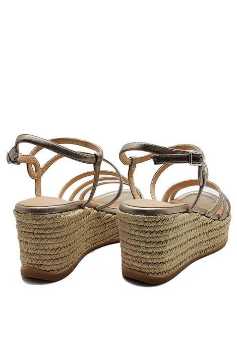 Calzature Donna Sandali in Pelle Laminata Bronzo Con Zeppa in Corda e Cinturini Unisa | Sandali Zeppa | KYMO601