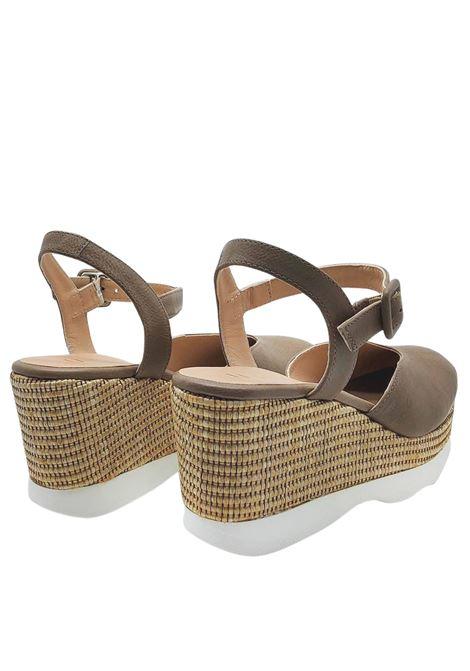 Women's Shoes Espadrilles in Taupe Leather with High Rope Wedge and Carrarmato Bottom Unisa | Sandals | LAYOSA023