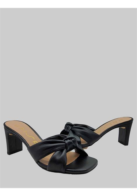 Women's Shoes Black Leather Sandals with Square Toe and 70 Heel Unisa | Sandals | MASHA001
