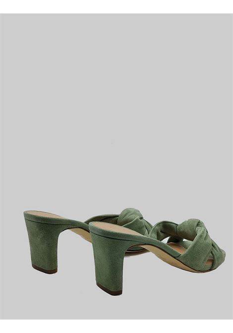 Women's Shoes Sandals in Green Suede with Square Toe and 70 Heel Unisa | Sandals | MASHA005
