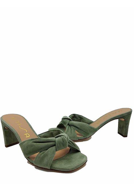 Calzature Donna Sandali in Camoscio Verde con Punta Quadra e Tacco 70 Unisa | Sandali | MASHA005