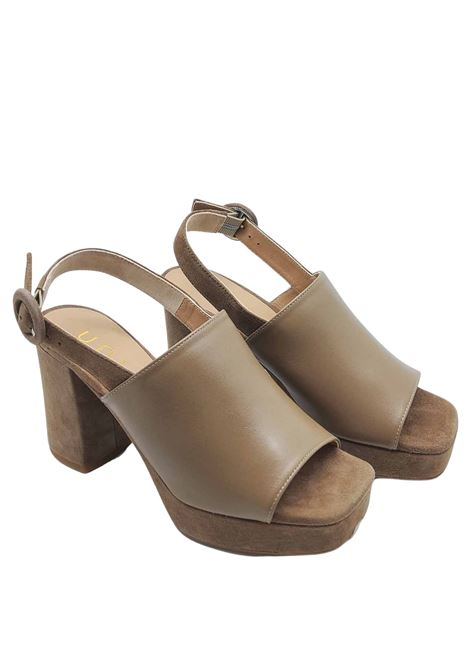 Women's Shoes High Sandals in Suede and Taupe Leather Heel and Plateau with Square Toe Unisa | Sandals | OFEK023