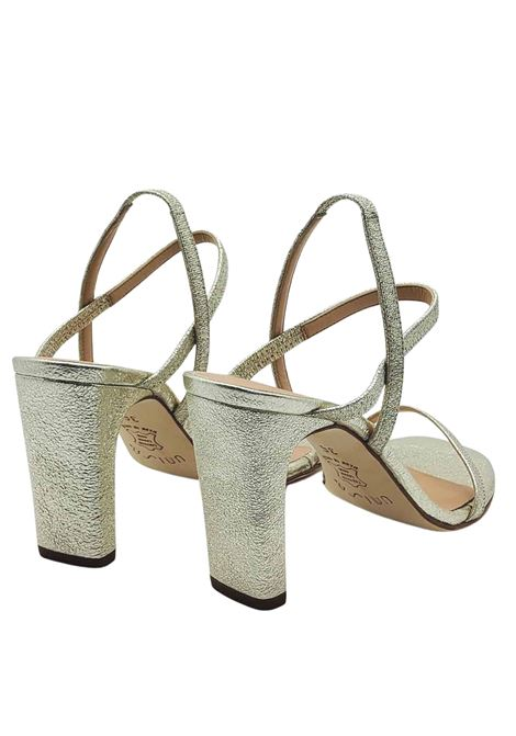 Women's Shoes Platinum Laminated Leather Sandals with High Heel and Straps Unisa | Sandals | SILAS600