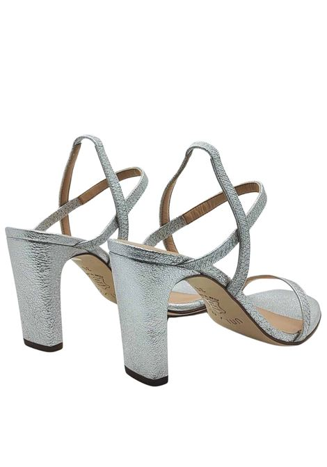 Women's Shoes Sandals in Silver Laminated Leather with High Heel and Straps Unisa | Sandals | SILAS604