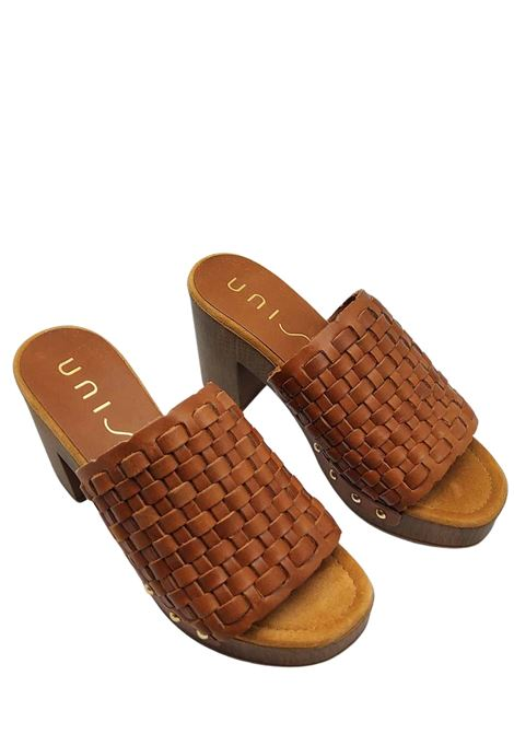 Women's Shoes Clog Sandals in Braided Leather with Nailed Upper and Padded Insole Unisa | Sandals | TABLE014