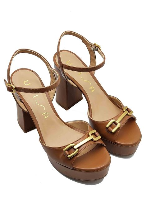 Women's shoes Leather Sandals with Gold Clamp High Plateau Heel and Ankle Strap Unisa | Sandals | VADILLO014