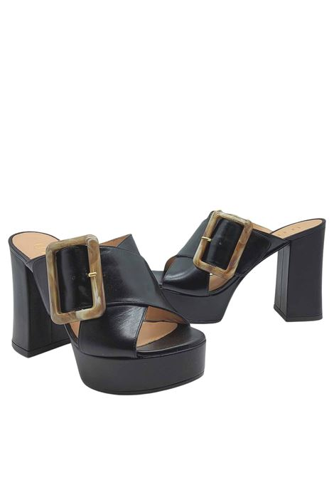 Women's Shoes Black Leather Crossed Sandals with Side Buckle and Heel and Plateau Unisa | Sandals | VARUN001
