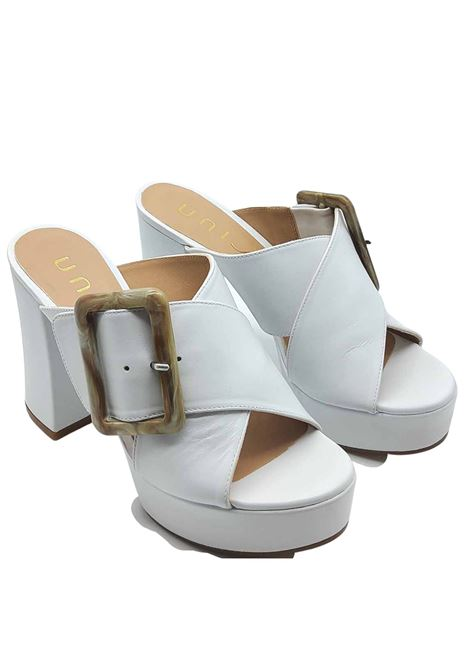 Women's Shoes White Leather Crossed Sandals with Side Buckle and Heel and Plateau Unisa | Sandals | VARUN100