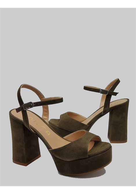 Women's shoes Sandals in Green Suede with High Platform Heel and Ankle Strap Unisa | Sandals | VEGARA005
