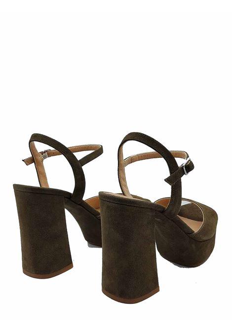 Calzature donna Sandali in Camoscio Verde con Tacco Alto Plateau e Cinturino alla Caviglia Unisa | Sandali | VEGARA005