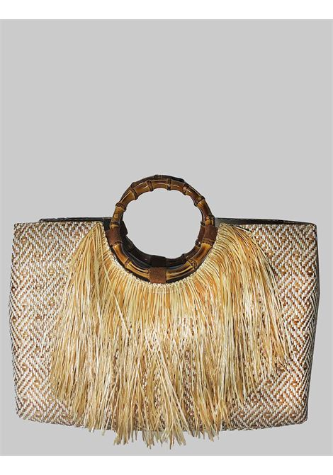 Woman Shopping Bag in Natural Raffia with Fringes with Bamboo Handles Via Mail Bag | Bags and backpacks | BAMBOOA02