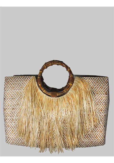 Borsa Donna Shopping in Rafia Naturale con Frange con Manici in Bamboo Via Mail Bag | Borse e zaini | BAMBOOA02