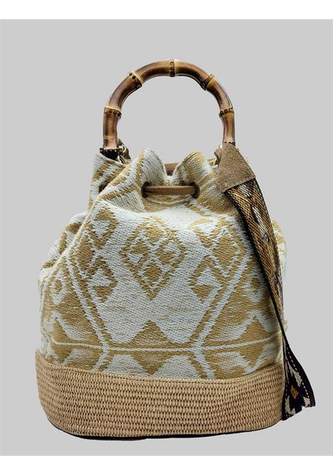 Natural Jacquard Bucket Bag with Fringes and Bamboo Handles Via Mail Bag | Bags and backpacks | GIPSYK01