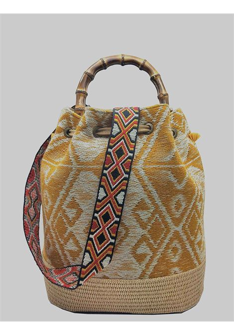 Woman Bucket Bag Jacquard White And Mustard with Fringes and Bamboo Handles Via Mail Bag | Bags and backpacks | GIPSYK02