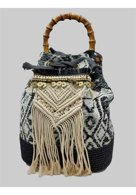 Woman Bucket Bag Jacquard Gray with Fringes and Bamboo Handles Via Mail Bag | Bags and backpacks | GIPSYK04