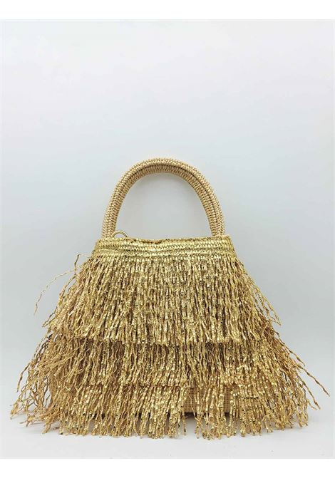 Borsa Donna a Piccola in Frange Effetto Glitter in Colore Oro con Manico a Mano e Tracolla in Tessuto Removibile Via Mail Bag | Borse e zaini | GLITTERG01