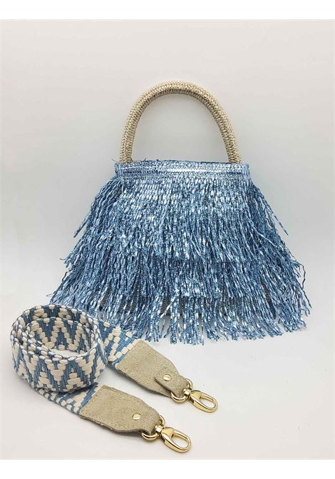 Small Woman Bag in Glitter Effect Fringes in Light Blue Color with Hand Handle and Shoulder Strap in Removable Fabric Via Mail Bag | Bags and backpacks | GLITTERG03