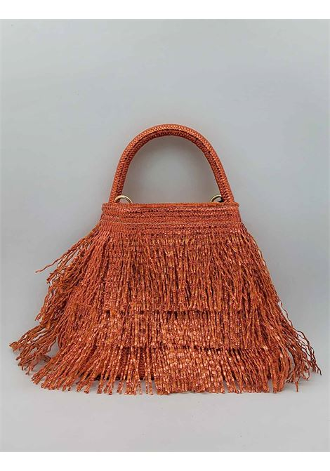 Small Woman Bag in Glitter Effect Fringes in Orange Color with Hand Handle and Shoulder Strap in Removable Fabric Via Mail Bag | Bags and backpacks | GLITTERG04