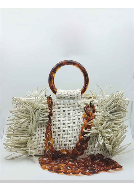 White Woven Raffia Woman Bag With Resin Handles Via Mail Bag | Bags and backpacks | RAFIAR02