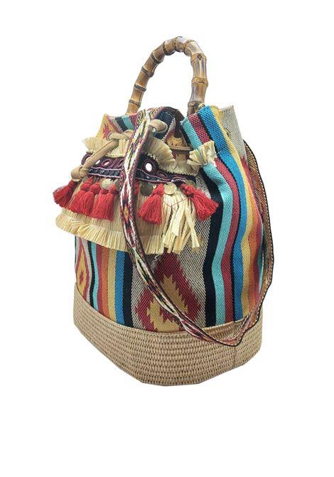 Borsa Donna Secchiello Jacquard Beige e Rosso con Frange e Manico in Bamboo Tracolla Removibile a Fantasia Via Mail Bag | Borse e zaini | TRIBEH01