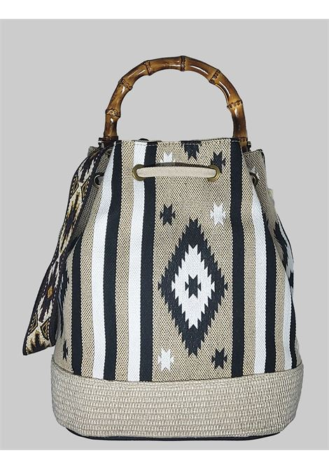 Woman Bucket Bag Jacquard Gray and Natural with Fringes And Bamboo Handles Via Mail Bag | Bags and backpacks | TRIBEH02