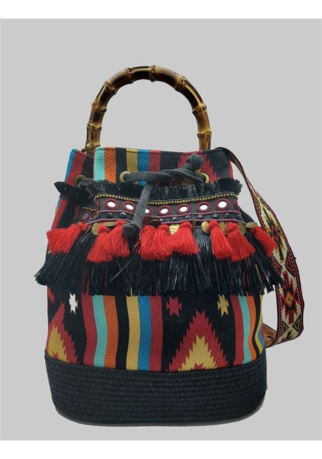 Black Jacquard Bucket Bag Woman with Fringes And Bamboo Handles Via Mail Bag | Bags and backpacks | TRIBEH03