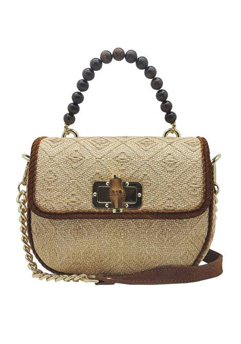 Women's Natural Jacquard Shoulder Bag with Wooden Beaded Handle and Removable Suede Shoulder Strap and Gold Chain Via Mail Bag | Bags and backpacks | YUTAA01