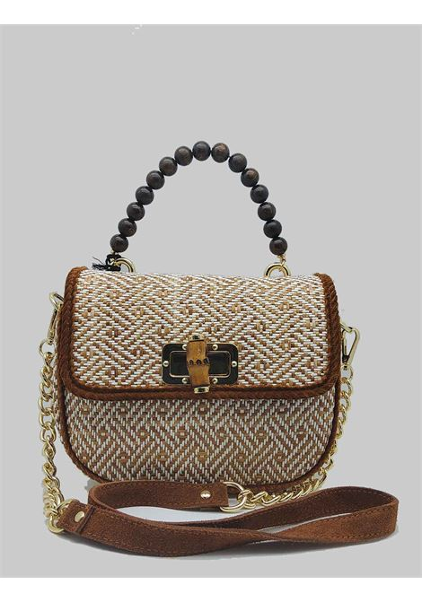 Women's Jacquard Biscuit Shoulder Bag with Wooden Beaded Handle and Removable Suede Shoulder Strap and Gold Chain Via Mail Bag | Bags and backpacks | YUTAA02