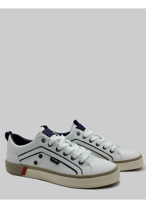 Men's Shoes Vegan Frisco Sneakers in White Eco Leather and Rubber Bottom Wrangler |  | WM01033A051