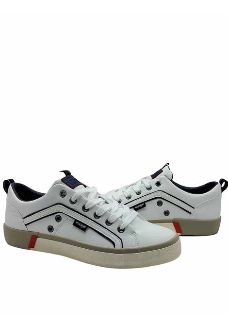 Men's Shoes Vegan Frisco Sneakers in White Eco Leather and Rubber Bottom Wrangler | Sneakers | WM01033A051