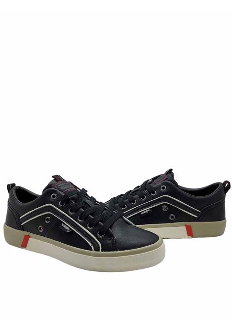 Men's Shoes Vegan Frisco Sneakers in Black Ecoleather and Rubber Bottom Wrangler | Sneakers | WM01033A062