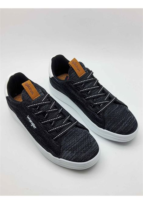 Men's Shoes Jelly Sneakers Laced in Black Fabric and Ultra Light White Rubber Sole Wrangler | Sneakers | WM11000A001