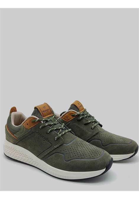 Men's Shoes Sequoia City Sneakers in Military Green Suede with Ultralight Bottom Wrangler |  | WM11071A020