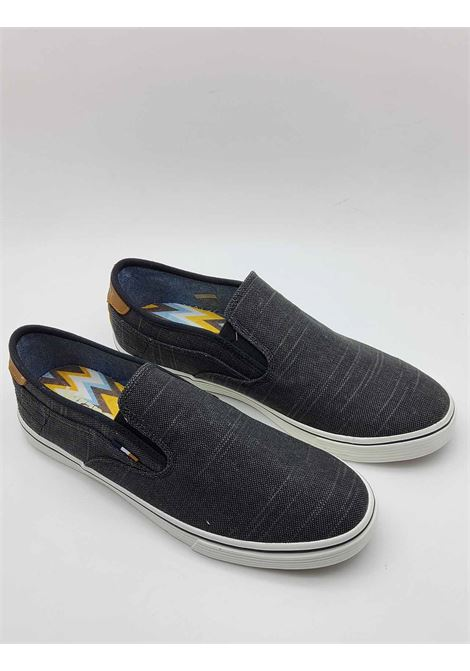 Men's Shoes Calypso Slip on Loafers in Black Fabric with Leather Trim and Rubber Bottom Wrangler | Mocassins | WM11100A001