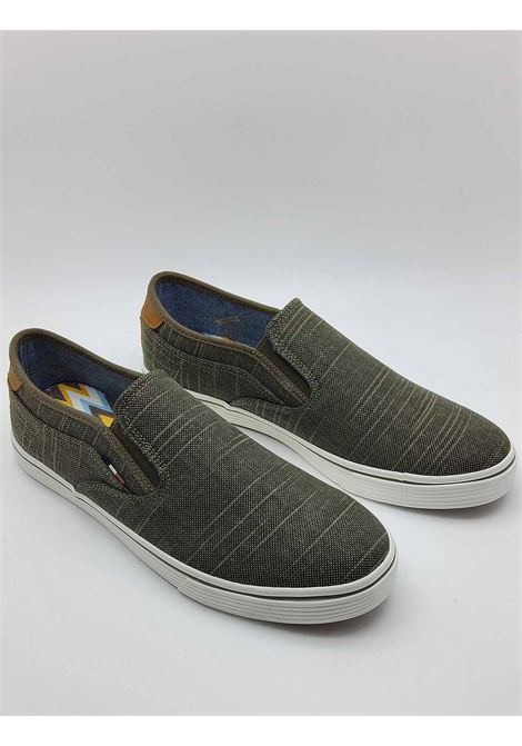 Men's Shoes Calypso Slip on Loafers in Military Fabric with Leather Cover and Rubber Bottom Wrangler | Mocassins | WM11100A006