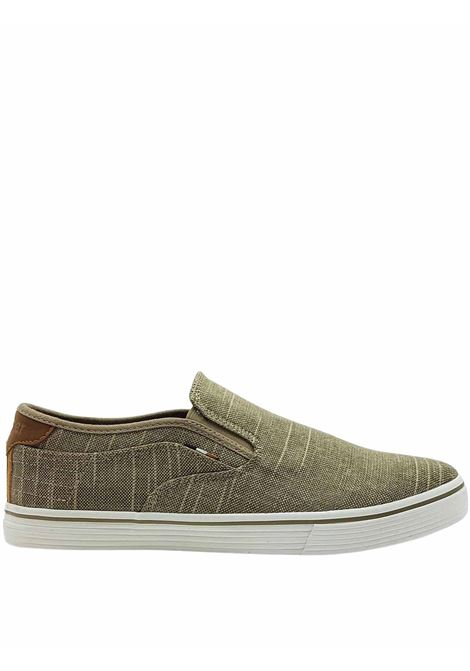 Men's Shoes Calypso Slip on Loafers in Taupe Fabric with Leather Trim and Rubber Bottom Wrangler | Mocassins | WM11100A023