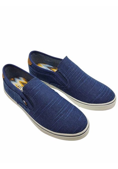 Men's Shoes Calypso Slip on Loafers in Denim Fabric with Leather Trim and Rubber Bottom Wrangler | Mocassins | WM11100A026