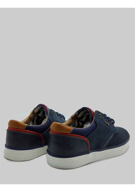 Men's Shoes Monument Sneakers in Blue Perforated Suede and Rubber Bottom Wrangler |  | WM11113A016