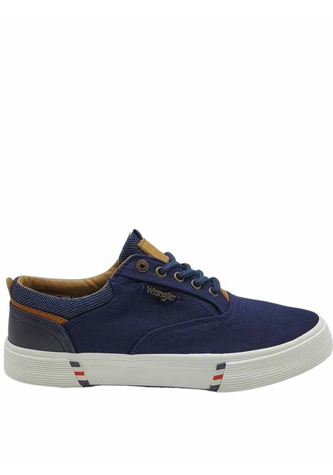 Men's Shoes Monument Board Sneakers in Blue Fabric and Rubber Bottom Wrangler |  | WM11114A016
