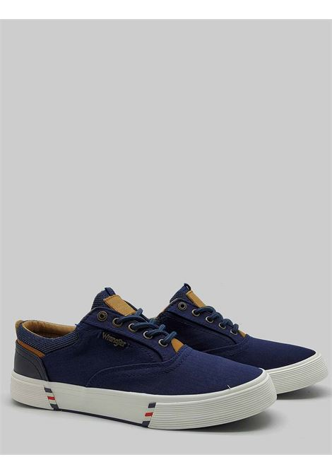 Men's Shoes Monument Board Sneakers in Blue Fabric and Rubber Bottom Wrangler | Sneakers | WM11114A016