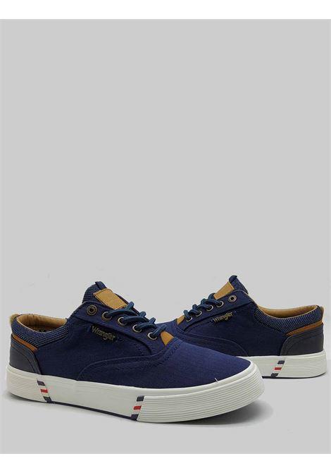 Calzature Uomo Sneakers Monument Board in Tessuto Blu e Fondo in Gomma Wrangler | Sneaker | WM11114A016