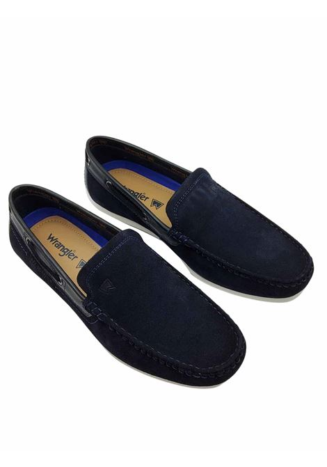 Calypso men's slip on moccasins in denim fabric, light and comfortable, lined in colored fabric with tan leather on the heel Wrangler | Mocassins | WM11180A002
