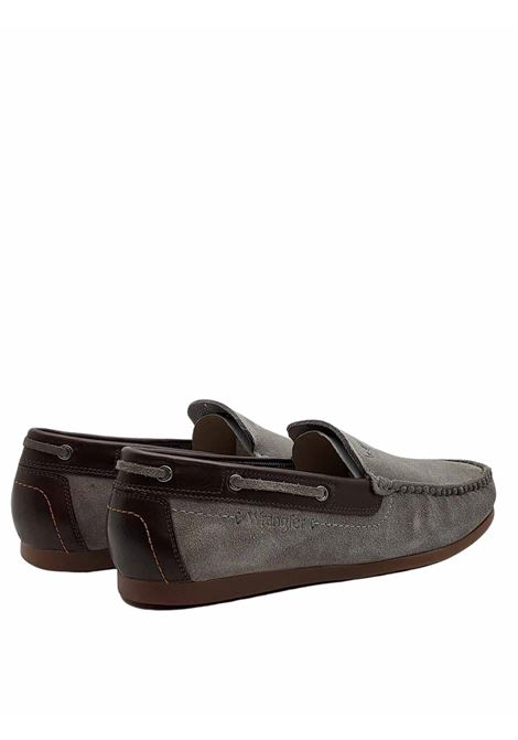 Men's Shoes Moccasins Slip on Moby in Taupe Suede with Leather Trim and Rubber Bottom Wrangler | Mocassins | WM11180A023